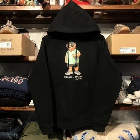 """【ラス1】RUGGED """"POLO CK"""" sweat hoodie (Black/10.0oz)"""