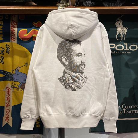 """RUGGED """"SELASSIE"""" reverse weave sweat hoodie (White/12.0oz)"""