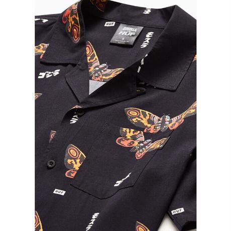 【web限定/ラス1】HUF x GODZILLA mothra resort shirt(Black)