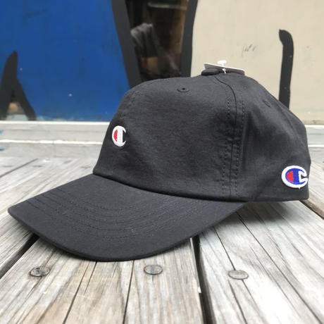 "【ラス1】Champion ""C"" logo stripe adjuster cap (Black)"