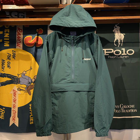 "【残り僅か】RUGGED ""ARCH LOGO"" nylon anorak jacket (Green)"
