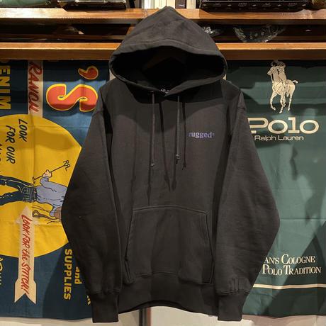 """【残り僅か】RUGGED """"JAH SAPPHIRE"""" reverse weave sweat hoodie (Black/12.0oz)"""