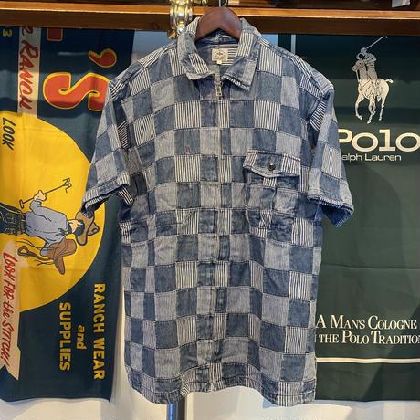 KEARNEY HOUSE patch work denim zip-up S/S shirt (L)