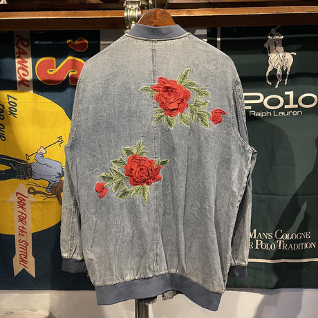 Hayden roses denim bomber jacket (S/M)