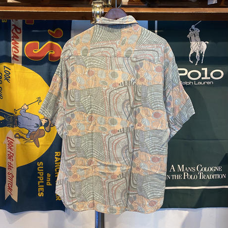 SOUTH WEST CASTLE abstract print S/S shirt (L)