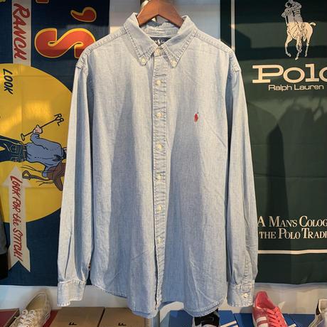 POLO RALPH LAUREN classic fit logo denim shirt (XL)
