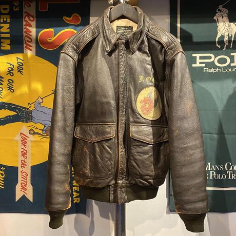 AVIREX back emblem A-2 flight leather jacket (XS)