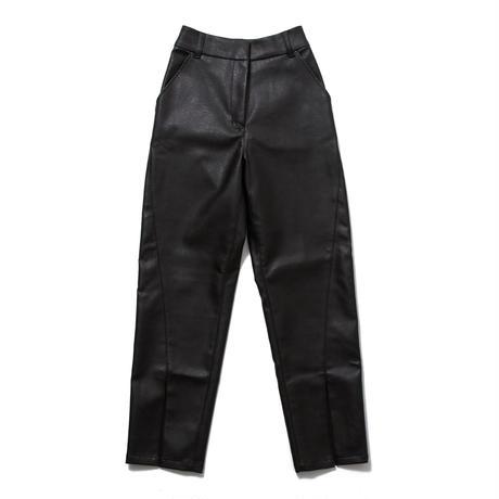 FAKE LEATHER FLARE PANTS (BLACK) R60006