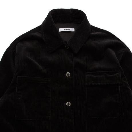 ASYMMETTRYC CORDUROY SHIRT (BLACK) R70007