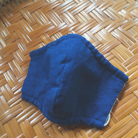 藍色マスク 木綿 無地