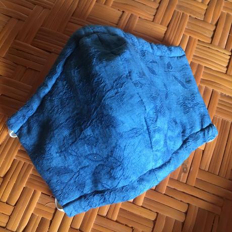藍色マスク 木綿 花模様