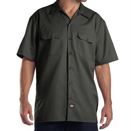 DICKIES Short Sleeve Work Shirt - Olive Green