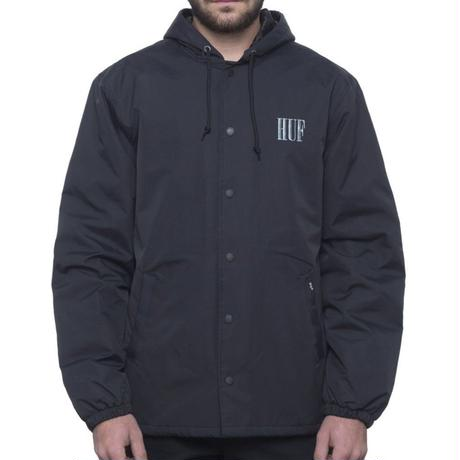 HUF SERIF QUILTED COACHES JACKET - BLACK