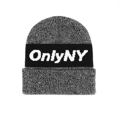 ONLY NY Knit Logo Beanie - Black Marl