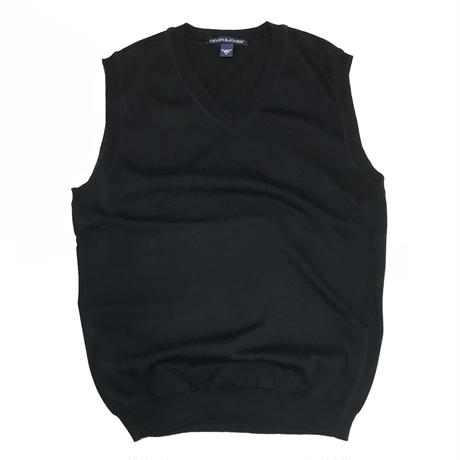 DEVON & JONES V NECK KNIT VEST - BLACK