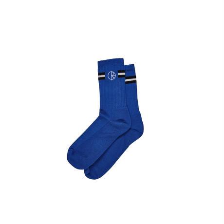 POLAR SKATE CO STROKE LOGO SOCKS-BLUE / BLACK / WHITE