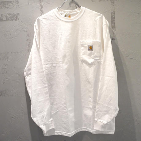 CARHARTT K126 LONG SLEEVE WORKWEAR POCKET T-SHIRT White