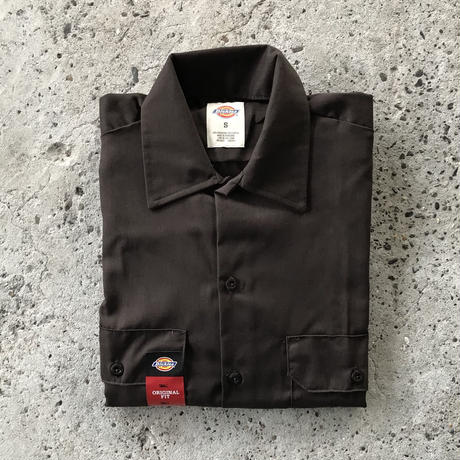 DICKIES Short Sleeve Work Shirt - Dark Brown