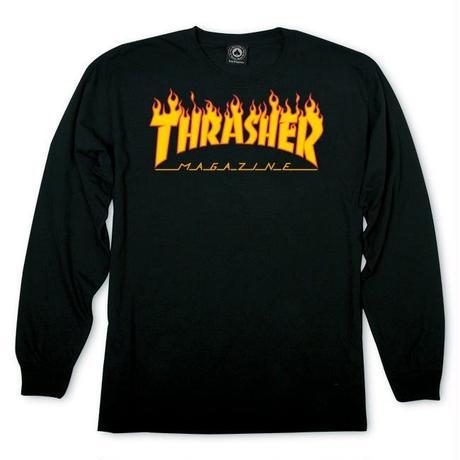 THRASHER MAGAZINE FLAME LOGO Long Sleeve Tee BLACK