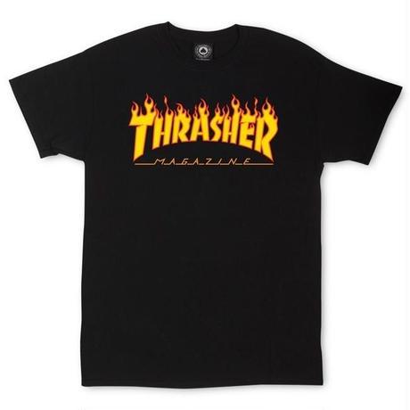 THRASHER MAGAZINE FLAME LOGO T SHIRTS - BLACK