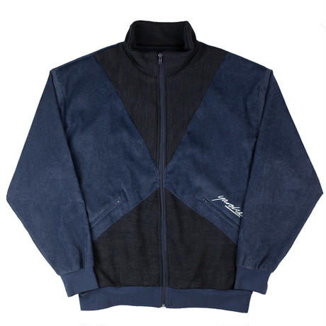 YARDSALE - ALAN VELOUR/CORD TRACK TOP - Navy