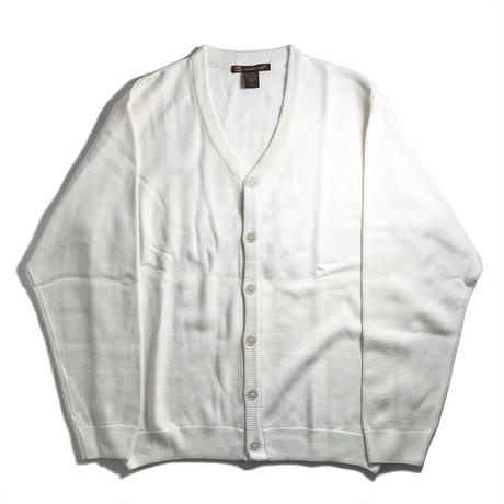 Harriton V-Neck Acrylic Cardigan - White
