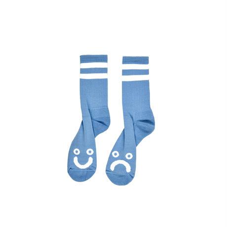 POLAR SKATE CO HAPPY SAD SOCKS-LIGHT BLUE