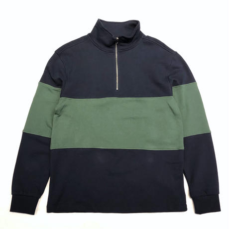 PACSUN HALF ZIP SWEAT TOP - NAVY/GREEN