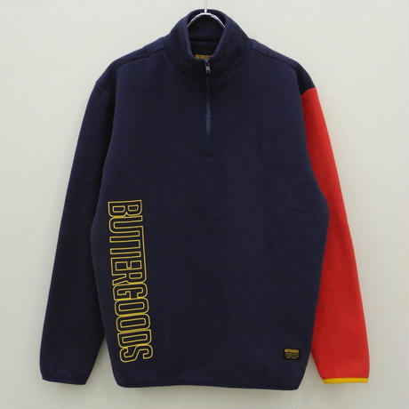 BUTTER GOODS  OUTLINE VERT FLEECE ZIP PULLOVER - NVY