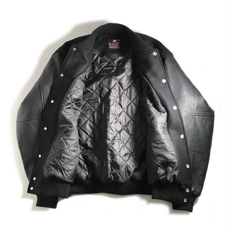GAME Sportswear Wool x Genuine Leather Varsity Jacket - Black/Black