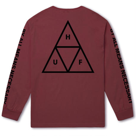 HUF TRIPLE TRIANGLE LONG SLEEVE TEE - TERRA COTTA