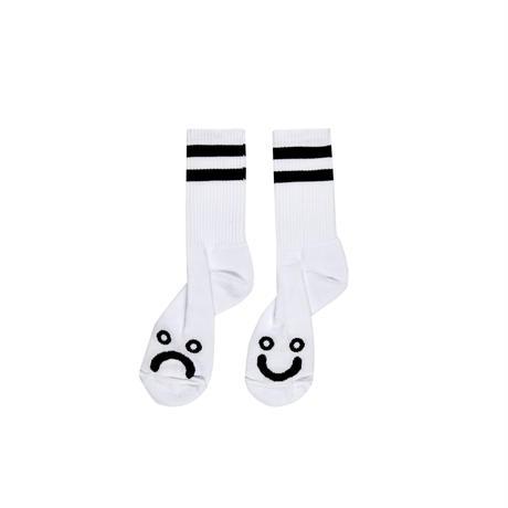 POLAR SKATE CO HAPPY SAD SOCKS-WHITE