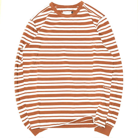 POP TRADING COMPANY STRIPED LONGSLEEVE T-SHIRT - RUST