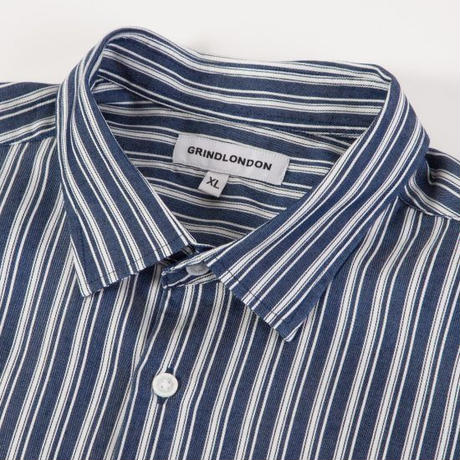 GRIND LONDON INDIGO STRIPE SHIRT - NAVY/WHITE