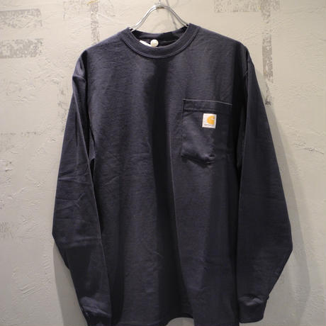 CARHARTT K126 LONG SLEEVE WORKWEAR POCKET T-SHIRT Navy