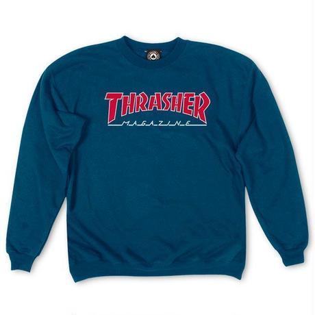 THRASHER Outlined Crewneck  - Navy