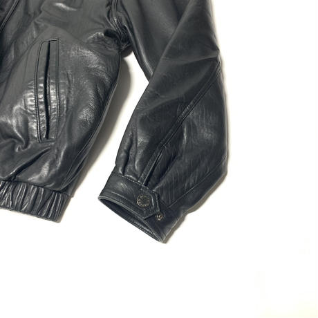 USED pierre cardin Leather Jacket-BLACK