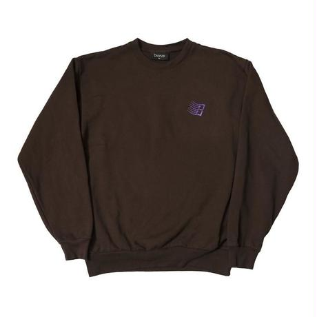 BRONZE EMBROIDERED B LOGO CREW NECK - CHOCOLATE