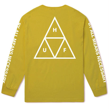HUF TRIPLE TRIANGLE LONG SLEEVE TEE - SUPER LEMON