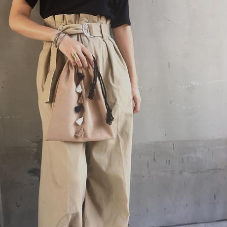 フリンジ付き スウェード調 巾着バッグ
