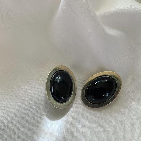 vintage Mexico silver black onyx earring