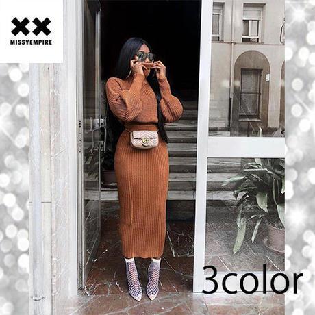 【MISSY EMPIRE】3color ニットジャンパーロングスカートセット