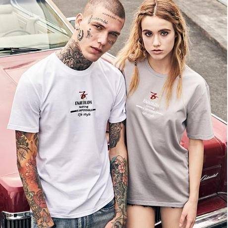 【Enjeolon】3color Enjeolonロゴ入りメッセージプリント半袖Tシャツ