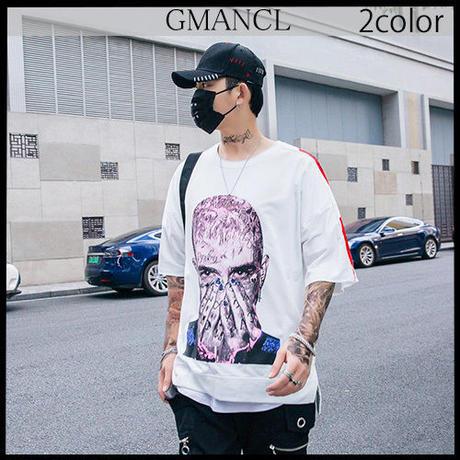 【GMANCL】2color 袖ロゴフェイスアートプリントスウェット半袖Tシャツ