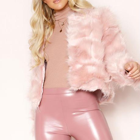 UK発 MISSYENPIRE ピンク レッド シャギー フェイクファー コート