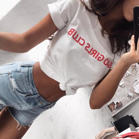 【クリックポストOK】【取り寄せ】BAD GIRLS CLUBプリント半袖Tシャツ