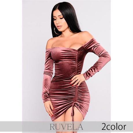 【RUVELA SELECT】2color オフショルダーベルベットシャーリングミニドレス