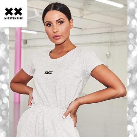 大人気 ♪ MISSYENPIRE BASIC スローガン ロゴ 半袖 Tシャツ グレー