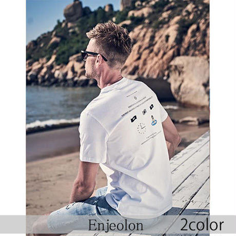 【Enjeolon】2color バックファニープリント半袖Tシャツ