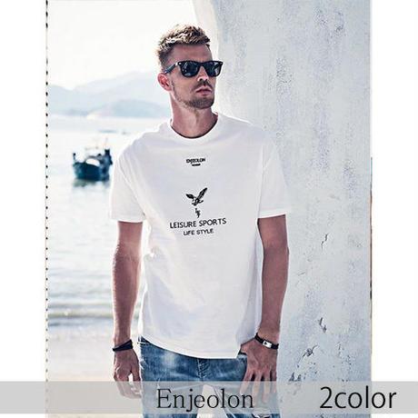 【Enjeolon】2color イーグルプリント半袖Tシャツ